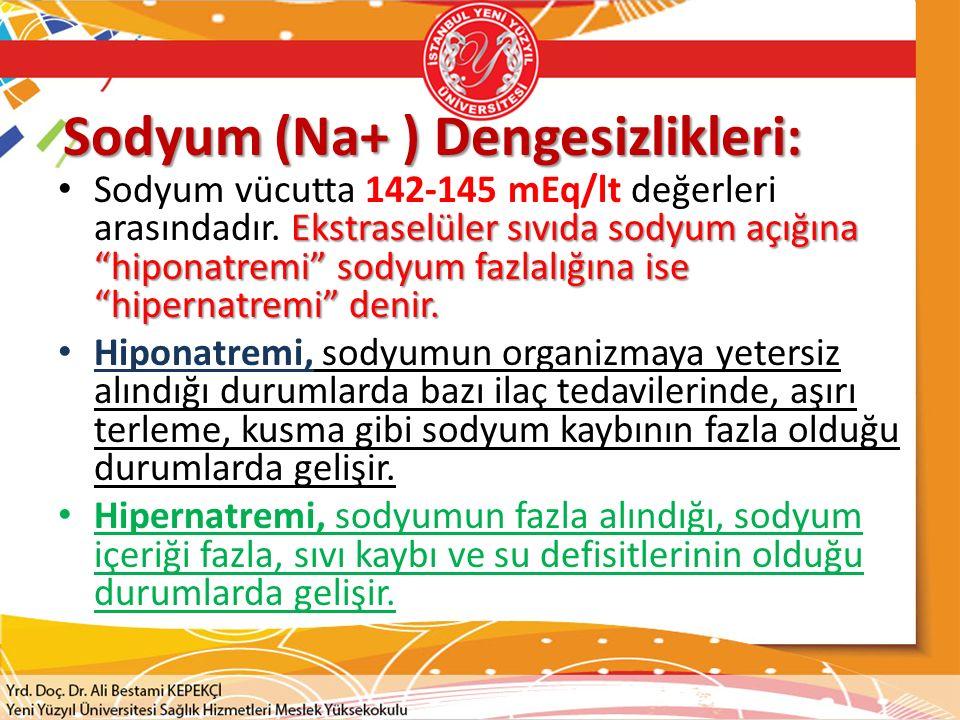 Sodyum (Na+ ) Dengesizlikleri: Ekstraselüler sıvıda sodyum açığına hiponatremi sodyum fazlalığına ise hipernatremi denir.