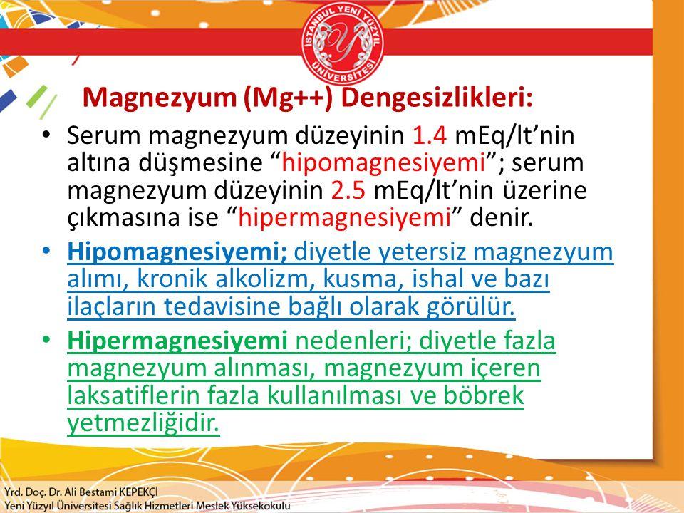 Magnezyum (Mg++) Dengesizlikleri: Serum magnezyum düzeyinin 1.4 mEq/lt'nin altına düşmesine hipomagnesiyemi ; serum magnezyum düzeyinin 2.5 mEq/lt'nin üzerine çıkmasına ise hipermagnesiyemi denir.