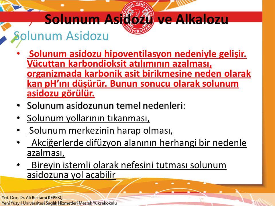 Solunum Asidozu ve Alkalozu Solunum asidozu hipoventilasyon nedeniyle gelişir.