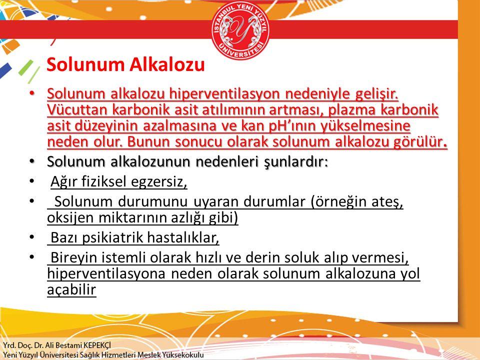 Solunum Alkalozu Solunum alkalozu hiperventilasyon nedeniyle gelişir.