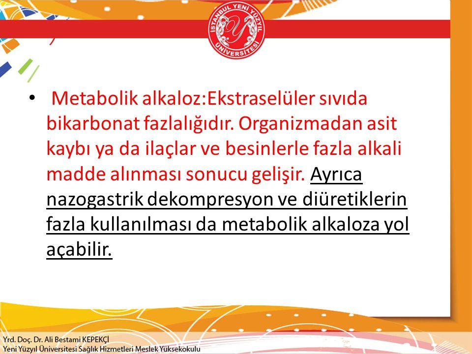 Metabolik alkaloz:Ekstraselüler sıvıda bikarbonat fazlalığıdır.