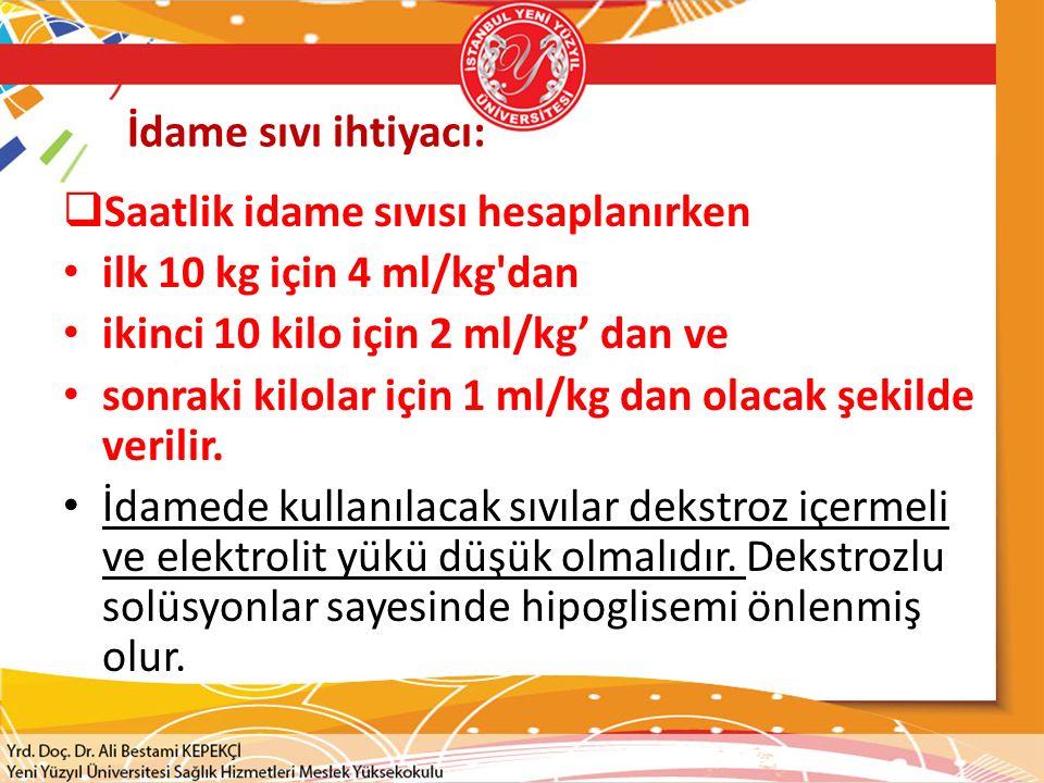 İdame sıvı ihtiyacı:  Saatlik idame sıvısı hesaplanırken ilk 10 kg için 4 ml/kg dan ikinci 10 kilo için 2 ml/kg' dan ve sonraki kilolar için 1 ml/kg dan olacak şekilde verilir.