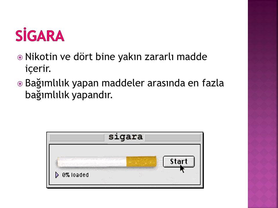  Nikotin ve dört bine yakın zararlı madde içerir.  Bağımlılık yapan maddeler arasında en fazla bağımlılık yapandır.