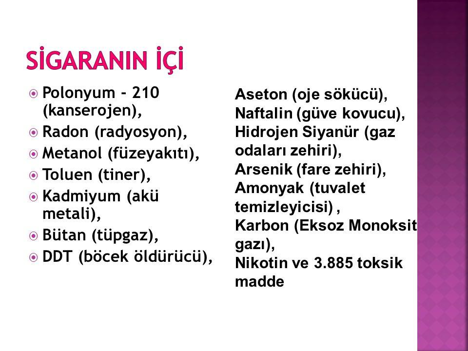  Polonyum - 210 (kanserojen),  Radon (radyosyon),  Metanol (füzeyakıtı),  Toluen (tiner),  Kadmiyum (akü metali),  Bütan (tüpgaz),  DDT (böcek
