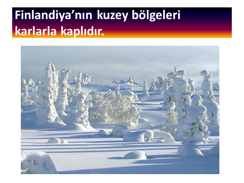 Finlandiya'nın kuzey bölgeleri karlarla kaplıdır.
