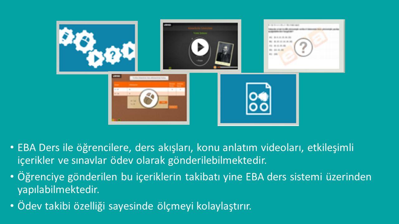 EBA Ders ile öğrencilere, ders akışları, konu anlatım videoları, etkileşimli içerikler ve sınavlar ödev olarak gönderilebilmektedir. Öğrenciye gönderi
