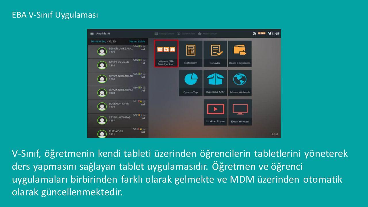 EBA V-Sınıf Uygulaması V-Sınıf, öğretmenin kendi tableti üzerinden öğrencilerin tabletlerini yöneterek ders yapmasını sağlayan tablet uygulamasıdır. Ö