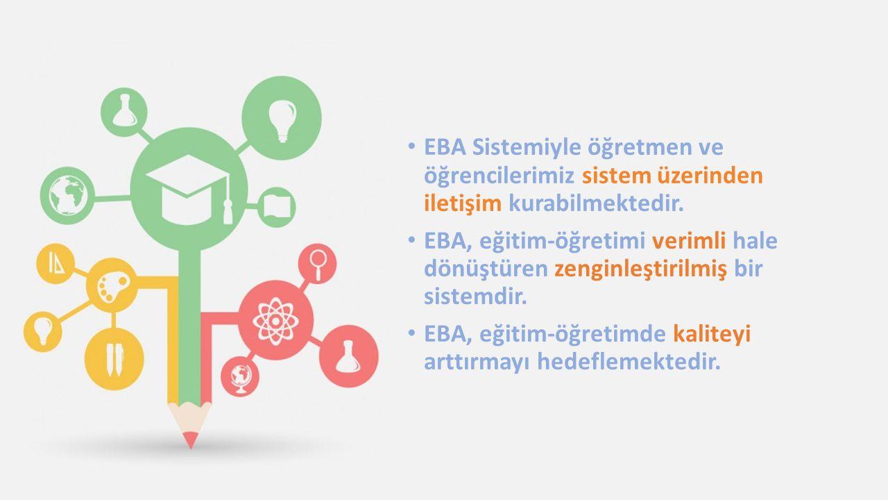 EBA Sistemiyle öğretmen ve öğrencilerimiz sistem üzerinden iletişim kurabilmektedir. EBA, eğitim-öğretimi verimli hale dönüştüren zenginleştirilmiş bi