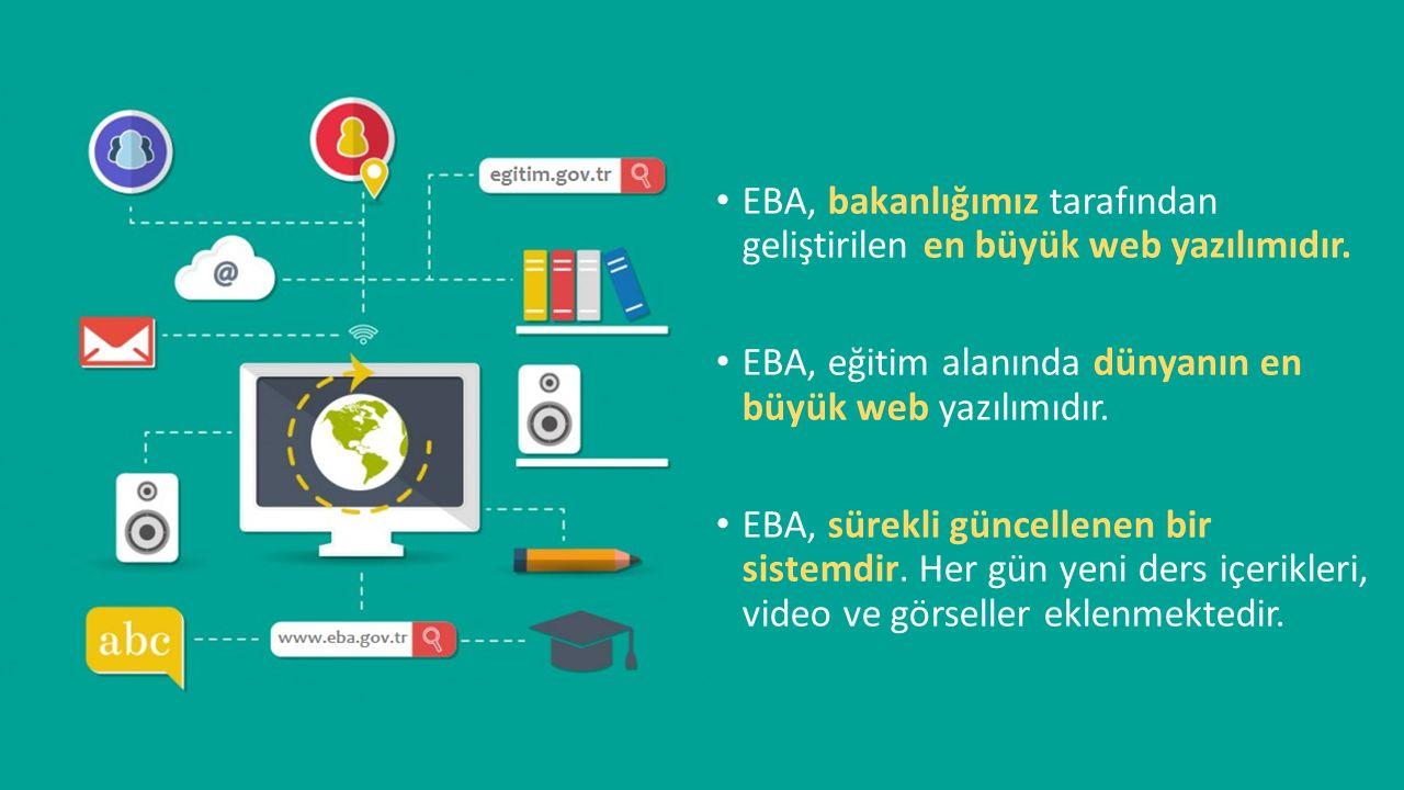 EBA, bakanlığımız tarafından geliştirilen en büyük web yazılımıdır. EBA, eğitim alanında dünyanın en büyük web yazılımıdır. EBA, sürekli güncellenen b