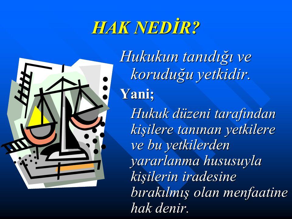 HAK NEDİR.Hukukun tanıdığı ve koruduğu yetkidir.