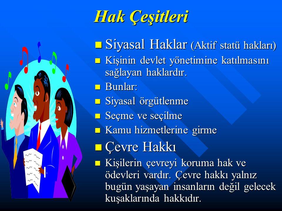Hak Çeşitleri Siyasal Haklar (Aktif statü hakları) Kişinin devlet yönetimine katılmasını sağlayan haklardır.