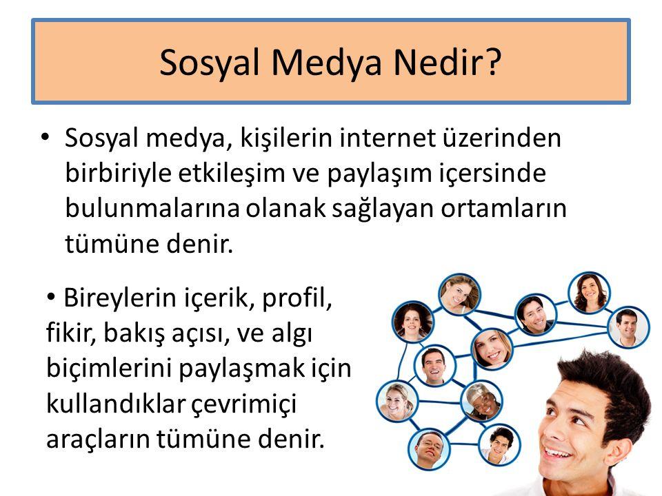 Sosyal Medya Nedir? Sosyal medya, kişilerin internet üzerinden birbiriyle etkileşim ve paylaşım içersinde bulunmalarına olanak sağlayan ortamların tüm