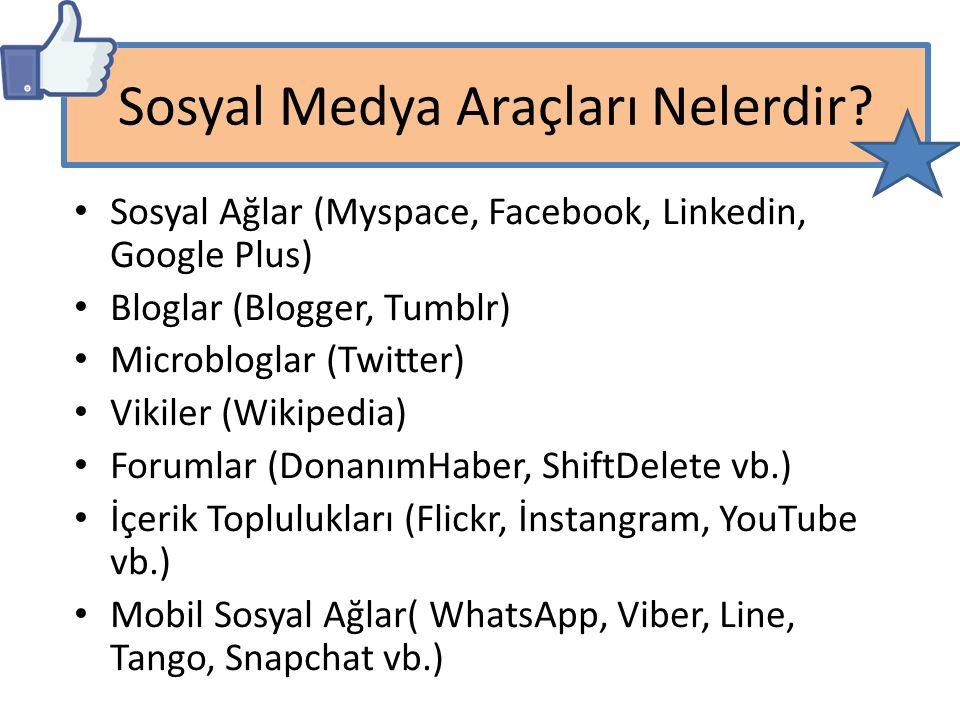 Sosyal Ağlar (Myspace, Facebook, Linkedin, Google Plus) Bloglar (Blogger, Tumblr) Microbloglar (Twitter) Vikiler (Wikipedia) Forumlar (DonanımHaber, S