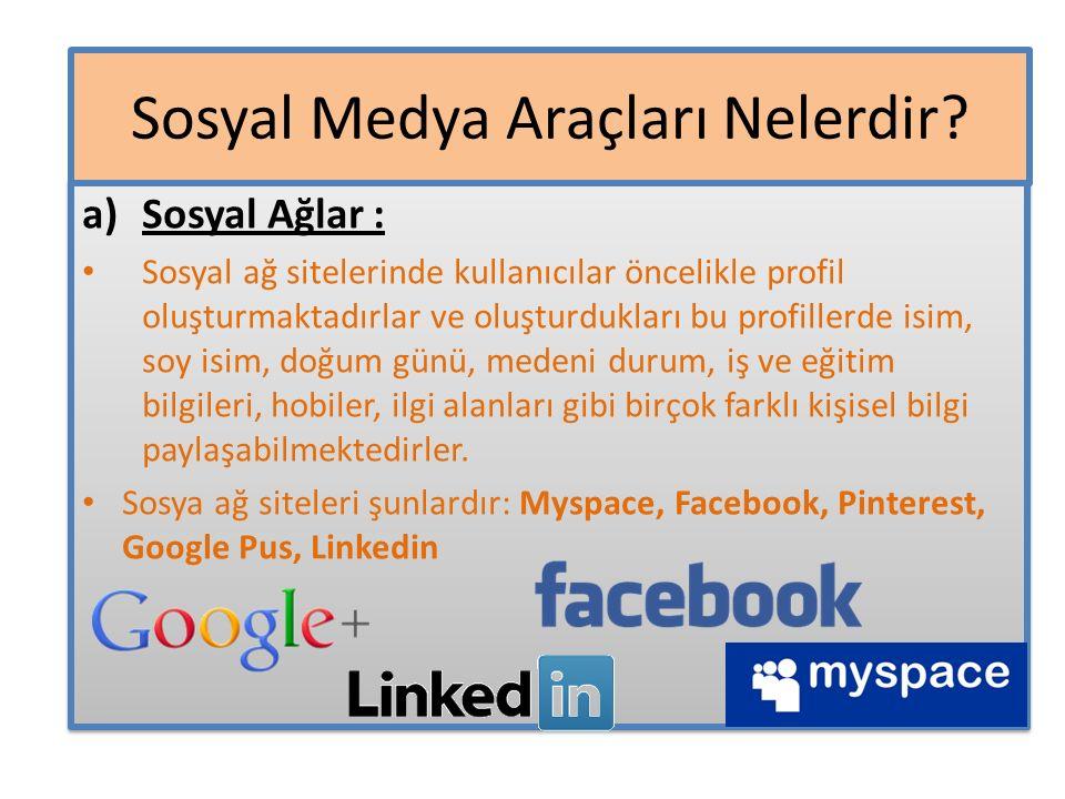 a)Sosyal Ağlar : Sosyal ağ sitelerinde kullanıcılar öncelikle profil oluşturmaktadırlar ve oluşturdukları bu profillerde isim, soy isim, doğum günü, m