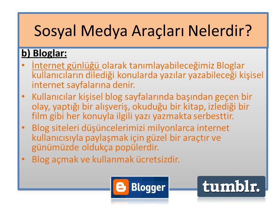 b) Bloglar: İnternet günlüğü olarak tanımlayabileceğimiz Bloglar kullanıcıların dilediği konularda yazılar yazabileceği kişisel internet sayfalarına d