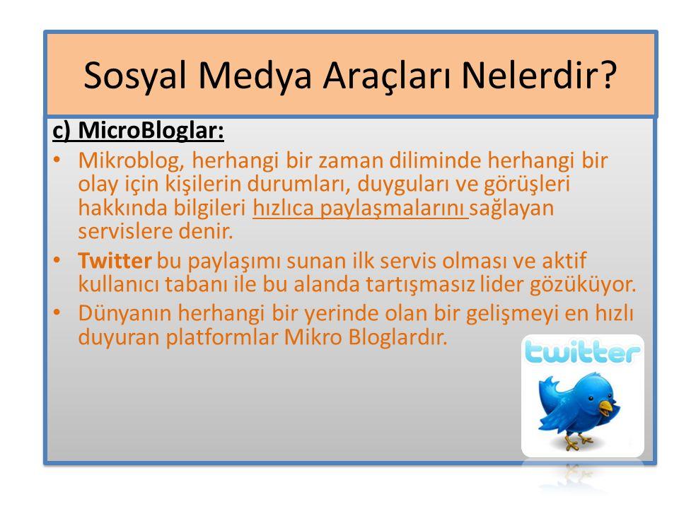 c) MicroBloglar: Mikroblog, herhangi bir zaman diliminde herhangi bir olay için kişilerin durumları, duyguları ve görüşleri hakkında bilgileri hızlıca