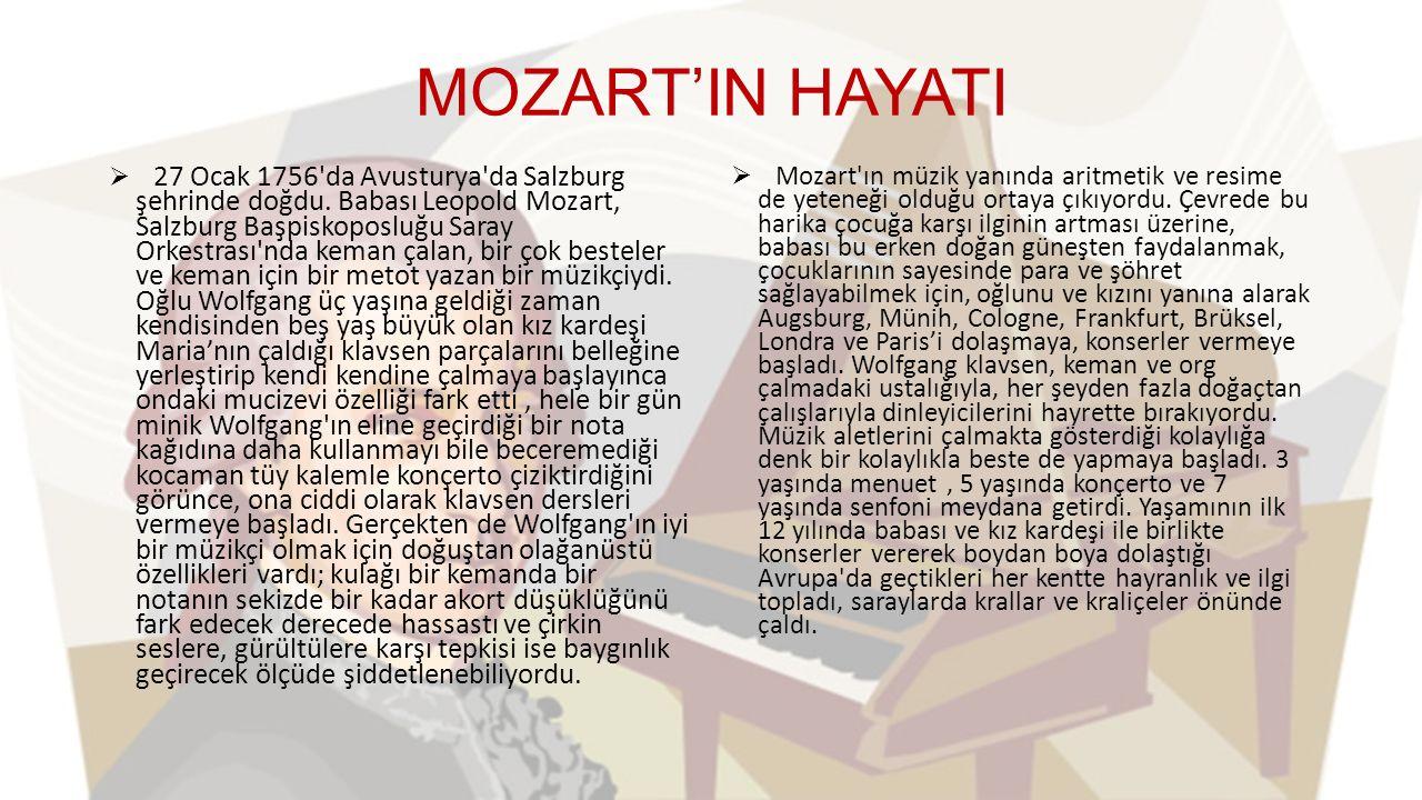 MOZART'IN HAYATI  27 Ocak 1756 da Avusturya da Salzburg şehrinde doğdu.