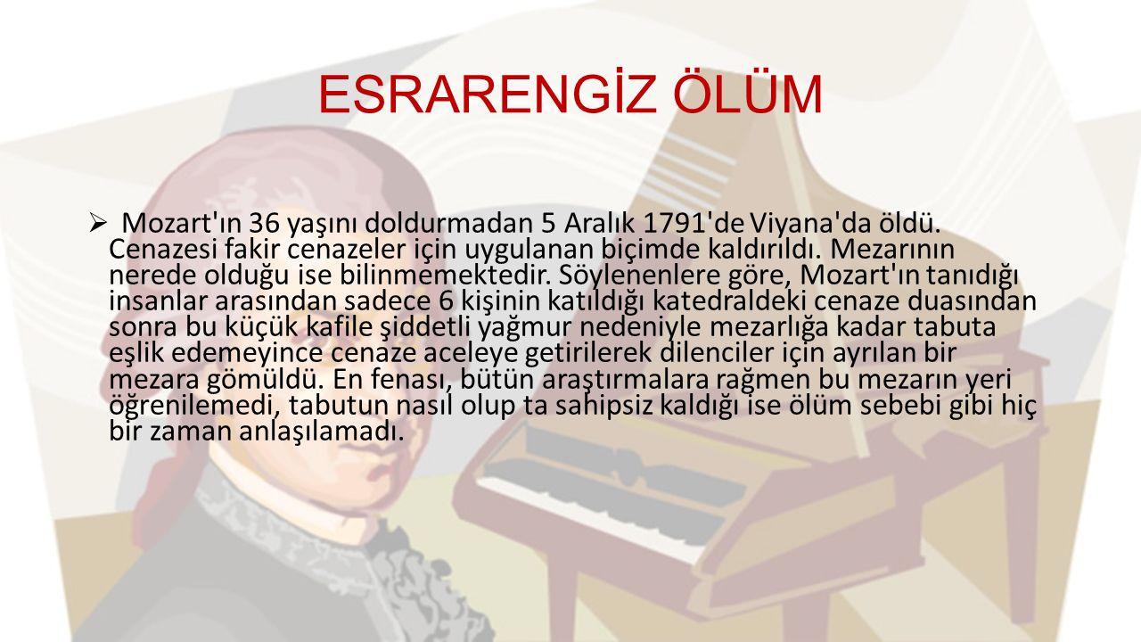 ESRARENGİZ ÖLÜM  Mozart ın 36 yaşını doldurmadan 5 Aralık 1791 de Viyana da öldü.