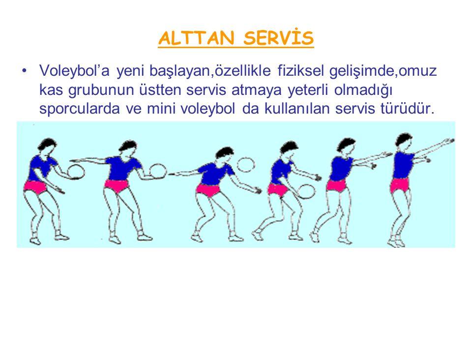 ALTTAN SERVİS Voleybol'a yeni başlayan,özellikle fiziksel gelişimde,omuz kas grubunun üstten servis atmaya yeterli olmadığı sporcularda ve mini voleybol da kullanılan servis türüdür.