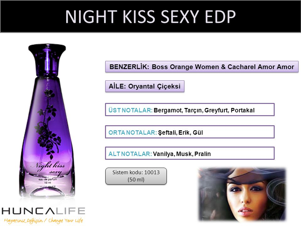 NIGHT KISS SEXY EDP ÜST NOTALAR: Bergamot, Tarçın, Greyfurt, Portakal BENZERLİK: Boss Orange Women & Cacharel Amor Amor ORTA NOTALAR: Şeftali, Erik, Gül ALT NOTALAR: Vanilya, Musk, Pralin AİLE: Oryantal Çiçeksi Sistem kodu: 10013 (50 ml)