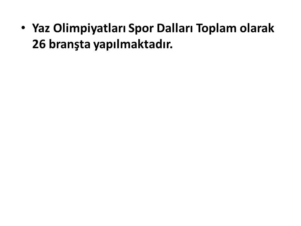 Yaz Olimpiyatları Spor Dalları Toplam olarak 26 branşta yapılmaktadır.
