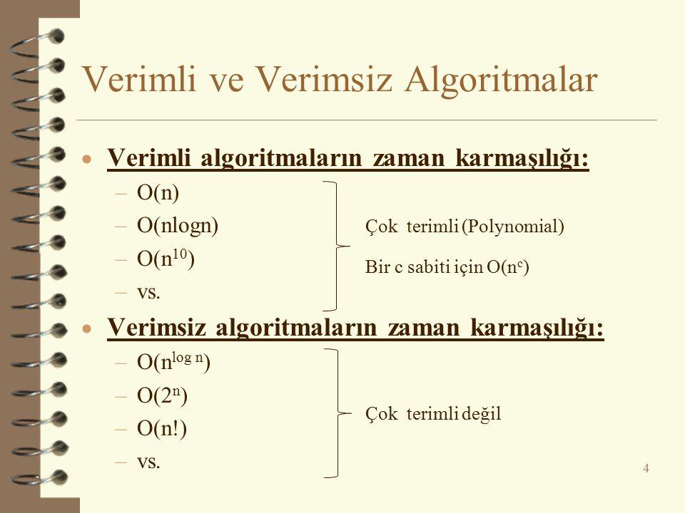 Verimli ve Verimsiz Algoritmalar  Verimli algoritmaların zaman karmaşılığı: –O(n) –O(nlogn) –O(n 10 ) –vs.  Verimsiz algoritmaların zaman karmaşılığ