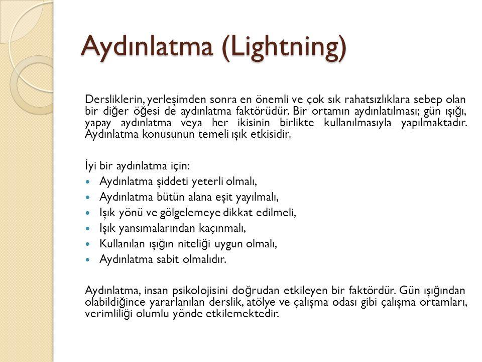 Aydınlatma (Lightning) Dersliklerin, yerleşimden sonra en önemli ve çok sık rahatsızlıklara sebep olan bir di ğ er ö ğ esi de aydınlatma faktörüdür.