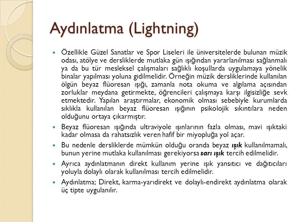 Aydınlatma (Lightning) Özellikle Güzel Sanatlar ve Spor Liseleri ile üniversitelerde bulunan müzik odası, atölye ve dersliklerde mutlaka gün ışı ğ ınd