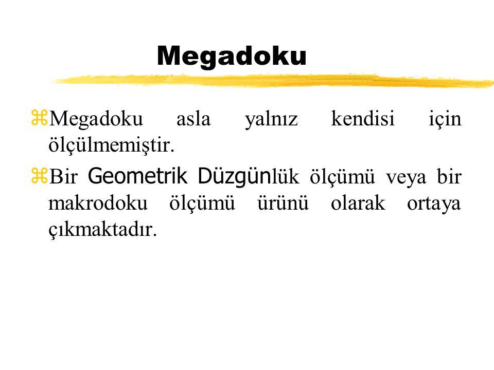 Megadoku zMegadoku asla yalnız kendisi için ölçülmemiştir.  Bir Geometrik Düzgün lük ölçümü veya bir makrodoku ölçümü ürünü olarak ortaya çıkmaktadır
