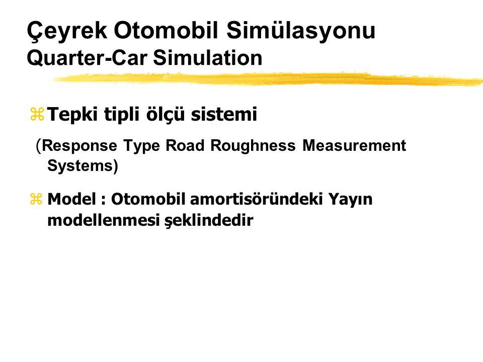 Çeyrek Otomobil Simülasyonu Quarter-Car Simulation zTepki tipli ölçü sistemi ( Response Type Road Roughness Measurement Systems) zModel : Otomobil amortisöründeki Yayın modellenmesi şeklindedir