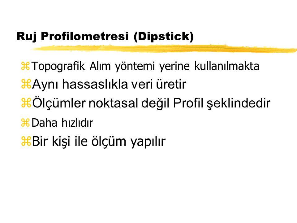 Ruj Profilometresi (Dipstick) zTopografik Alım yöntemi yerine kullanılmakta  Aynı hassaslıkla veri üretir  Ölçümler noktasal değil Profil şeklindedi
