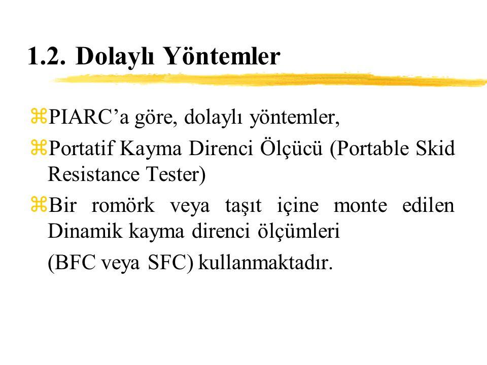 1.2.Dolaylı Yöntemler zPIARC'a göre, dolaylı yöntemler, zPortatif Kayma Direnci Ölçücü (Portable Skid Resistance Tester) zBir romörk veya taşıt içine monte edilen Dinamik kayma direnci ölçümleri (BFC veya SFC) kullanmaktadır.