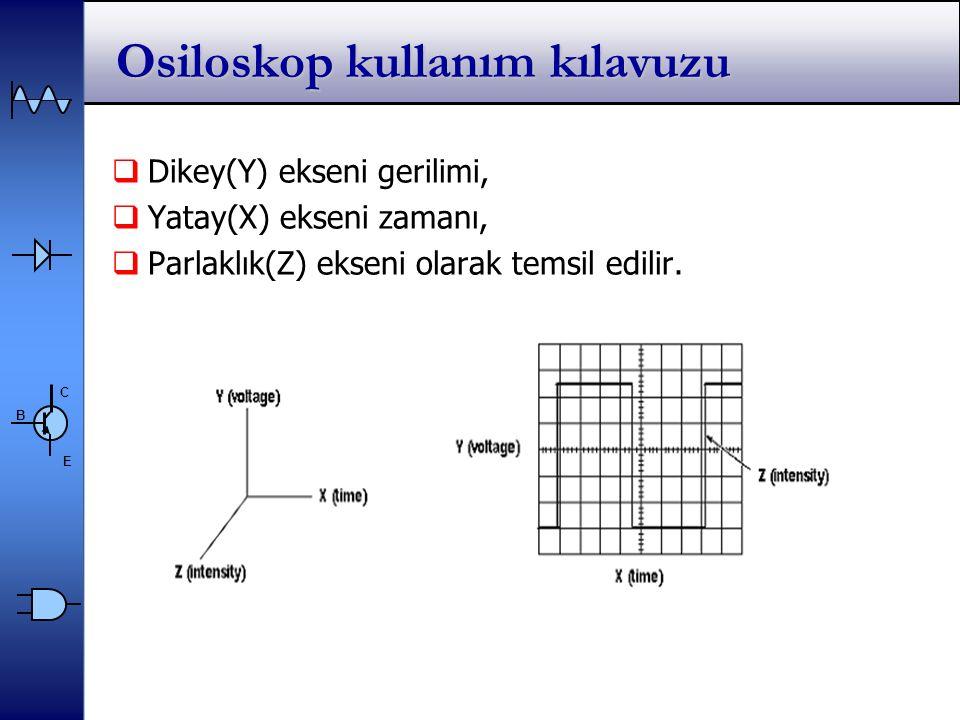 C E B Osiloskop kullanım kılavuzu  Dikey(Y) ekseni gerilimi,  Yatay(X) ekseni zamanı,  Parlaklık(Z) ekseni olarak temsil edilir.