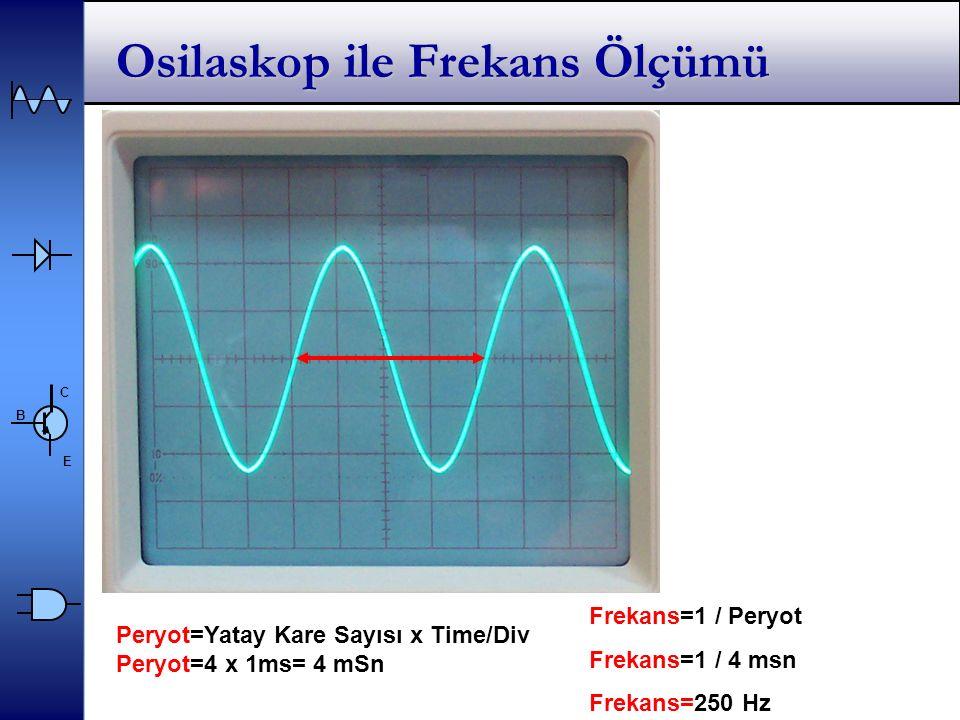 C E B Osilaskop ile Frekans Ölçümü Peryot=Yatay Kare Sayısı x Time/Div Peryot=4 x 1ms= 4 mSn Frekans=1 / Peryot Frekans=1 / 4 msn Frekans=250 Hz
