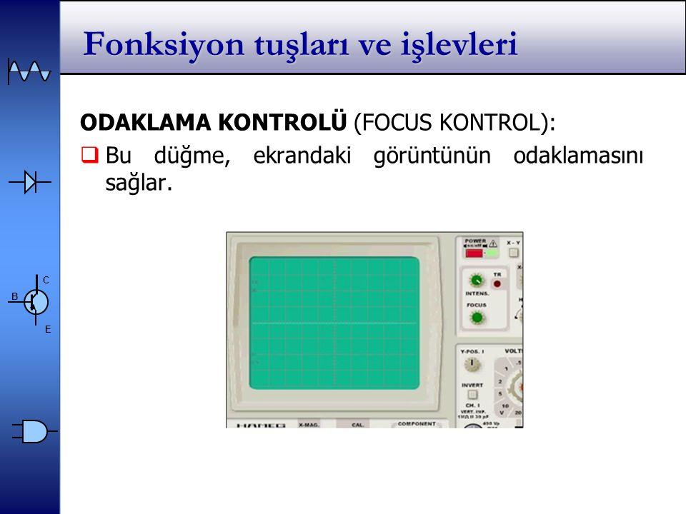C E B ODAKLAMA KONTROLÜ (FOCUS KONTROL):  Bu düğme, ekrandaki görüntünün odaklamasını sağlar.