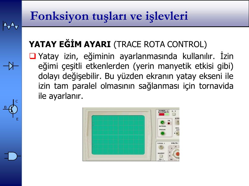 C E B YATAY EĞİM AYARI (TRACE ROTA CONTROL)  Yatay izin, eğiminin ayarlanmasında kullanılır.