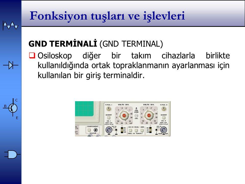 C E B GND TERMİNALİ (GND TERMINAL)  Osiloskop diğer bir takım cihazlarla birlikte kullanıldığında ortak topraklanmanın ayarlanması için kullanılan bir giriş terminaldir.