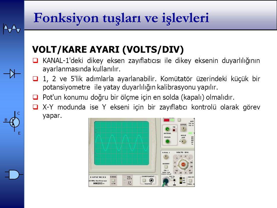 C E B Fonksiyon tuşları ve işlevleri VOLT/KARE AYARI (VOLTS/DIV)  KANAL-1 deki dikey eksen zayıflatıcısı ile dikey eksenin duyarlılığının ayarlanmasında kullanılır.
