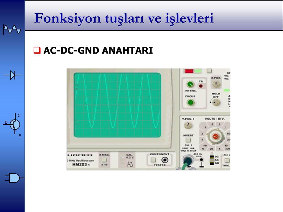 C E B Fonksiyon tuşları ve işlevleri  AC-DC-GND ANAHTARI