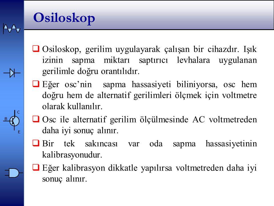 C E B Osiloskop  Osiloskop, gerilim uygulayarak çalışan bir cihazdır.