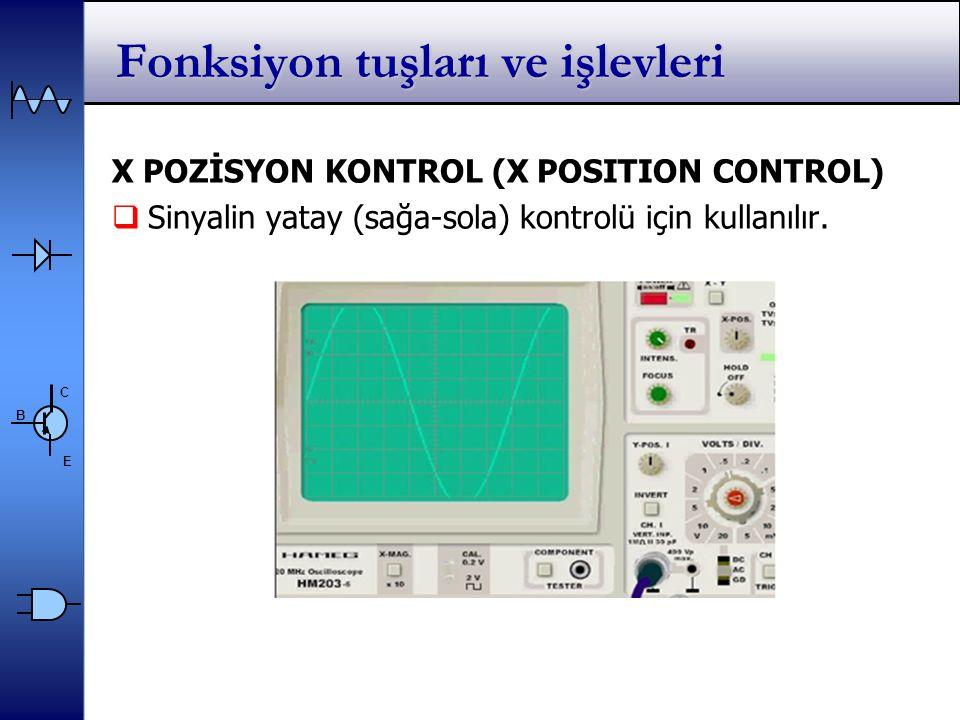C E B Fonksiyon tuşları ve işlevleri X POZİSYON KONTROL (X POSITION CONTROL)  Sinyalin yatay (sağa-sola) kontrolü için kullanılır.