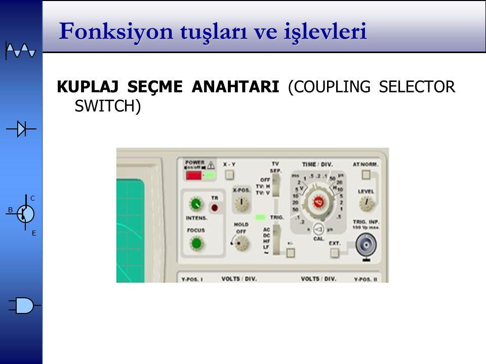 C E B Fonksiyon tuşları ve işlevleri KUPLAJ SEÇME ANAHTARI (COUPLING SELECTOR SWITCH)