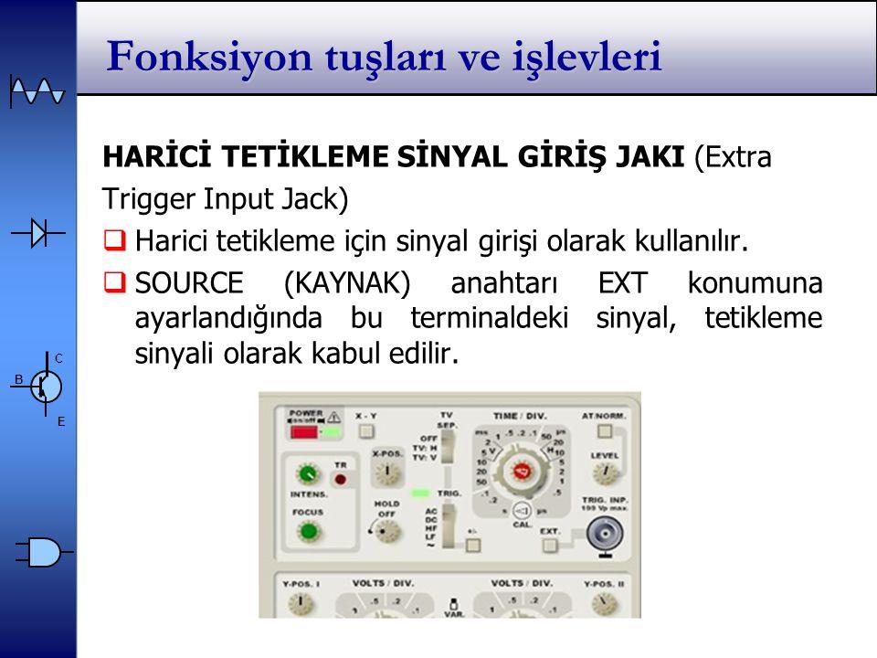 C E B Fonksiyon tuşları ve işlevleri HARİCİ TETİKLEME SİNYAL GİRİŞ JAKI (Extra Trigger Input Jack)  Harici tetikleme için sinyal girişi olarak kullanılır.