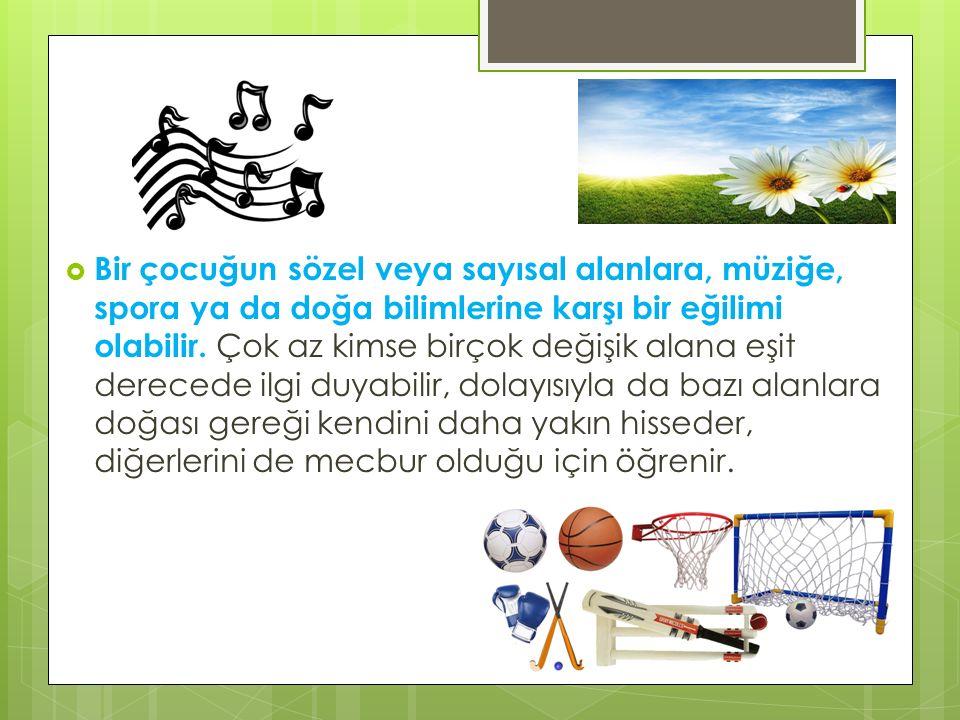  Bir çocuğun sözel veya sayısal alanlara, müziğe, spora ya da doğa bilimlerine karşı bir eğilimi olabilir. Çok az kimse birçok değişik alana eşit der