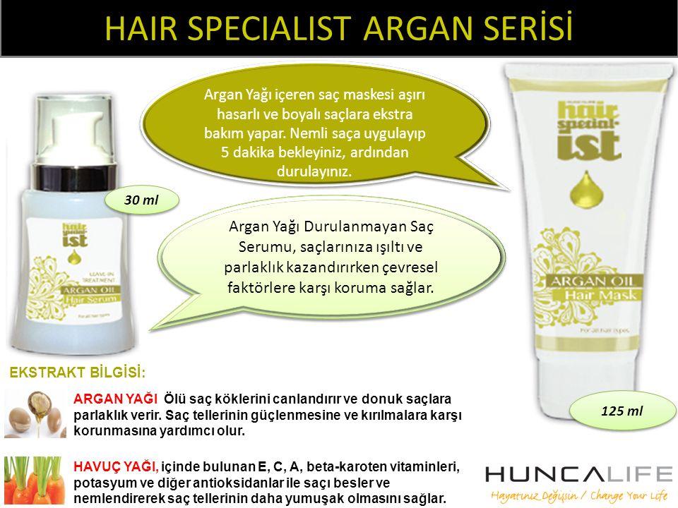 HAIR SPECIALIST ARGAN SERİSİ EKSTRAKT BİLGİSİ: ARGAN YAĞI Ölü saç köklerini canlandırır ve donuk saçlara parlaklık verir. Saç tellerinin güçlenmesine