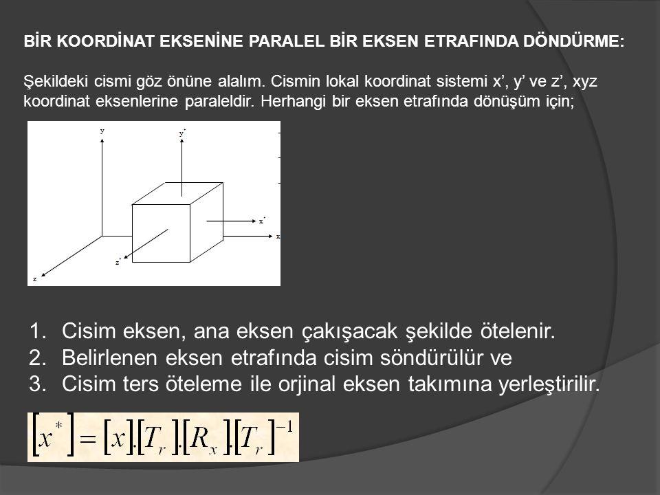 BİR KOORDİNAT EKSENİNE PARALEL BİR EKSEN ETRAFINDA DÖNDÜRME: Şekildeki cismi göz önüne alalım. Cismin lokal koordinat sistemi x', y' ve z', xyz koordi