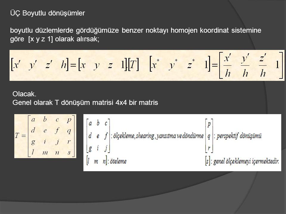 ÜÇ Boyutlu dönüşümler boyutlu düzlemlerde gördüğümüze benzer noktayı homojen koordinat sistemine göre [x y z 1] olarak alırsak; Olacak. Genel olarak T