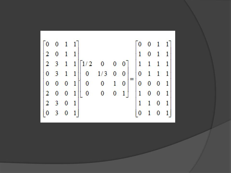 Örnek: [3 2 1 1] noktasına, xyz eksenleri boyunca (-1, -1, -1) öteleme, + 30 0 x ekseni etrafında döndürme ve y ekseni etrafında + 45 0 döndürme işlemi yapıldığında noktanın konumu ne olur.