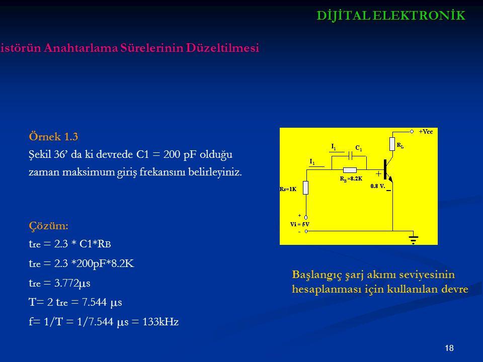 19 DİJİTALELEKTRONİK DİJİTAL ELEKTRONİK Örnek 1.4 Çözüm t re = 2.3 * C1*R B t re = 2.3*5*10 -12 *450 t re = 5175*10 -12 f=1/2tre = 10 12 /2*5175 = 96.618MHz Transistörün Anahtarlama Sürelerinin Düzeltilmesi Başlangıç şarj akımı seviyesinin hesaplanması için kullanılan devre Şekildeki devrede RB = 450Ω ve C yerine kullanılan transistörün jonksiyon kapasitesi 5pF olarak alınırsa maksimum giriş frekansını belirleyiniz.