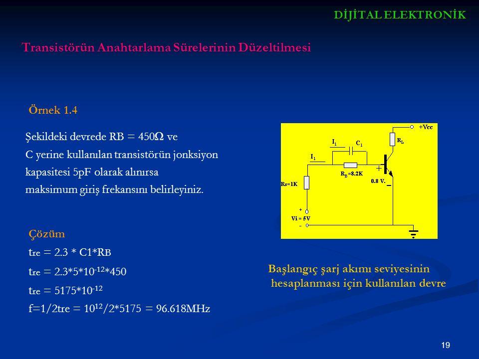 20 DİJİTALELEKTRONİK DİJİTAL ELEKTRONİK Bir transistör jonksiyonundan geçen akımın iki kaynağı vardır ; - Diyot bileşeni - Transistör bileşeni Katkılama ve geometrileri yüzünden transistörler normal olarak simetrik değildir.